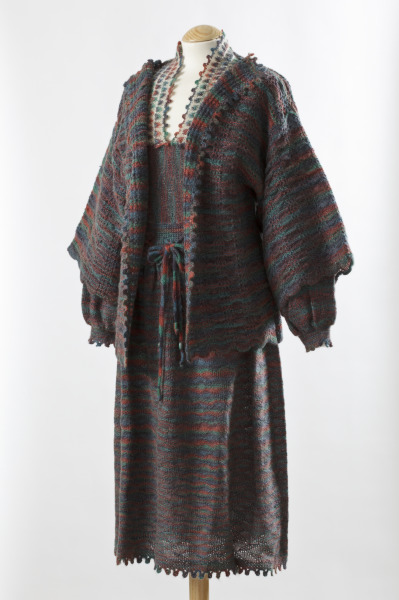 Knitted Dress and Jacket, Anne Fewlass, 1979, Crafts Council Collection: T37. Photo: John Hammond
