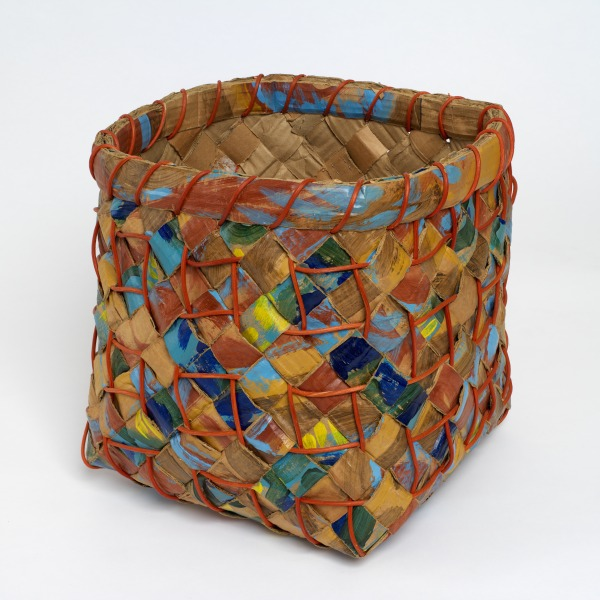Plaited Cardboard Basket, Lois Walpole, 1983, Crafts Council Collection: W54. Photo: Todd-White Art Photography.