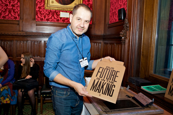Anthony Burrill at the Eduation Manifesto launch at the House of Commons. Photo: Sophie Mutevelian.