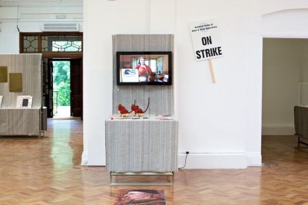 The Politcs of Shoes displayed at the Crafts Council touring exhibition Twelve Tall Tales, Onkar Kular and Dash MacDonald, 2014. Crafts Council Collection: 2018.21.