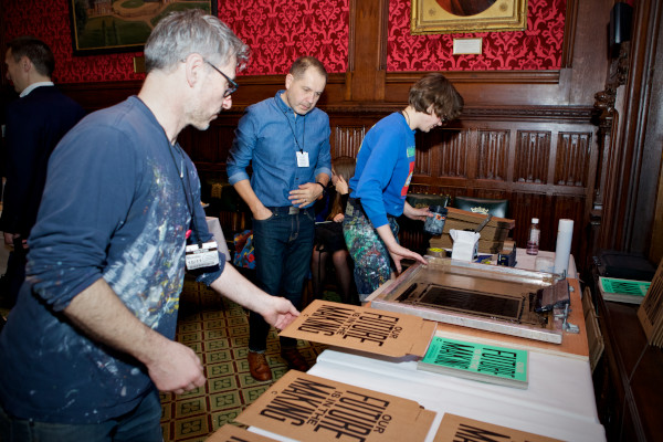 Anthony Burrill (centre)  at the Eduation Manifesto launch at the House of Commons. Photo: Sophie Mutevelian.
