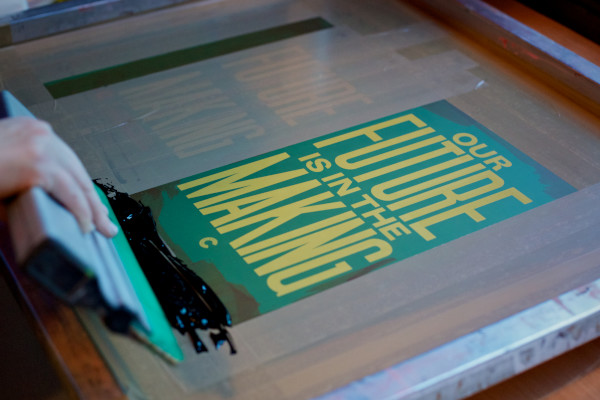 Live screen-printing event at Education Manifesto launch at the House of Commons. Photo: Sophie Mutevelian.