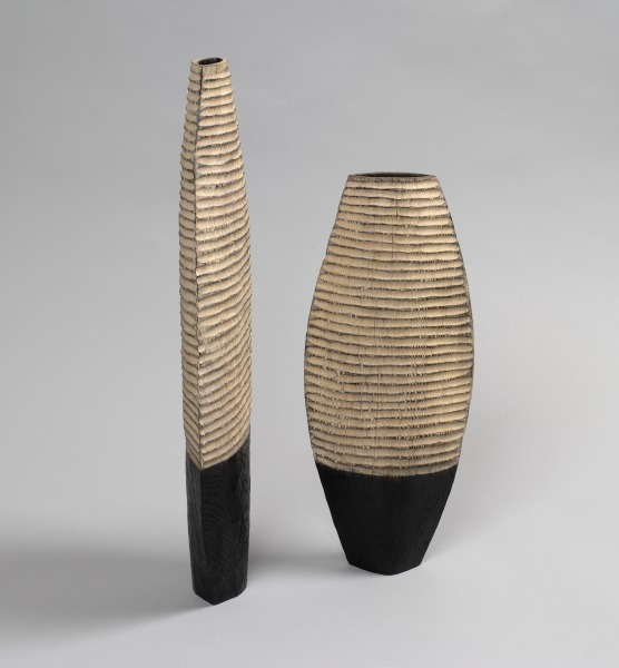Striped Vessels, Malcolm Martin, 1998, Crafts Council Collection: W123, W124. Photo: Todd-White Art Photography.