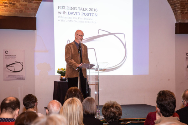 David Poston speaking at the Crafts Council Fielding Talk, 23 February 2016. Photo: Iona Wolff.
