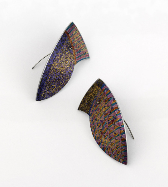 Earrings, Jane Adam, 1991, Crafts Council Collection: J217. Photo: Todd-White Art Photography.