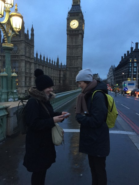 Annabelle Campbell, Crafts Council Head of Exhibitions & Collections, receiving a spoon from Clare Twomey on Westminster Bridge, Holocaust Memorial Day, 27 January 2016. Photo: Christina McGregor